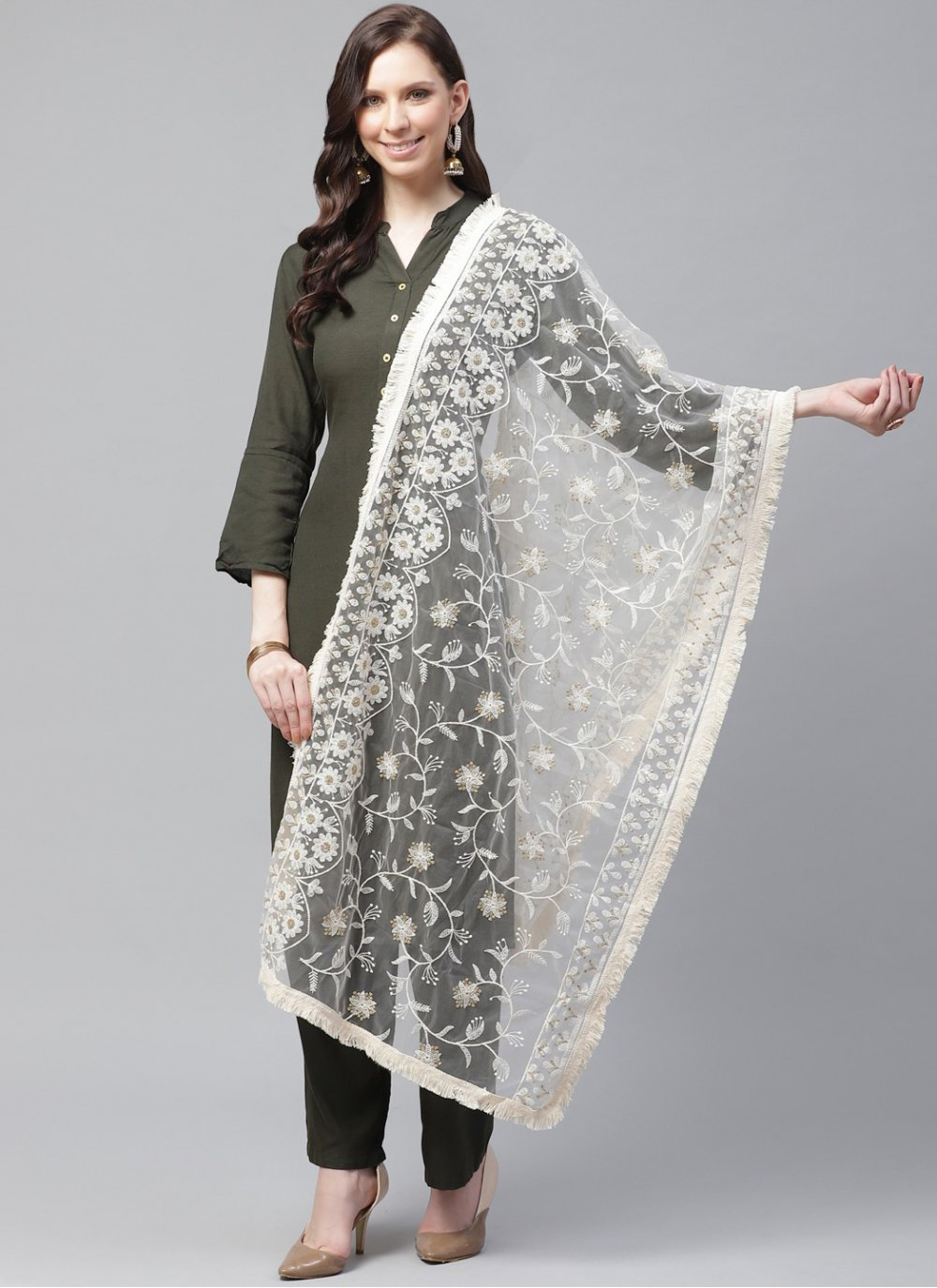 Off White Embroidered Ceremonial Designer Dupatta