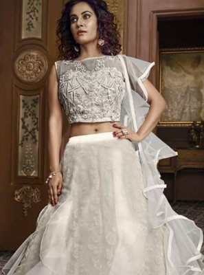 Off White Embroidered Ceremonial Designer Lehenga Choli