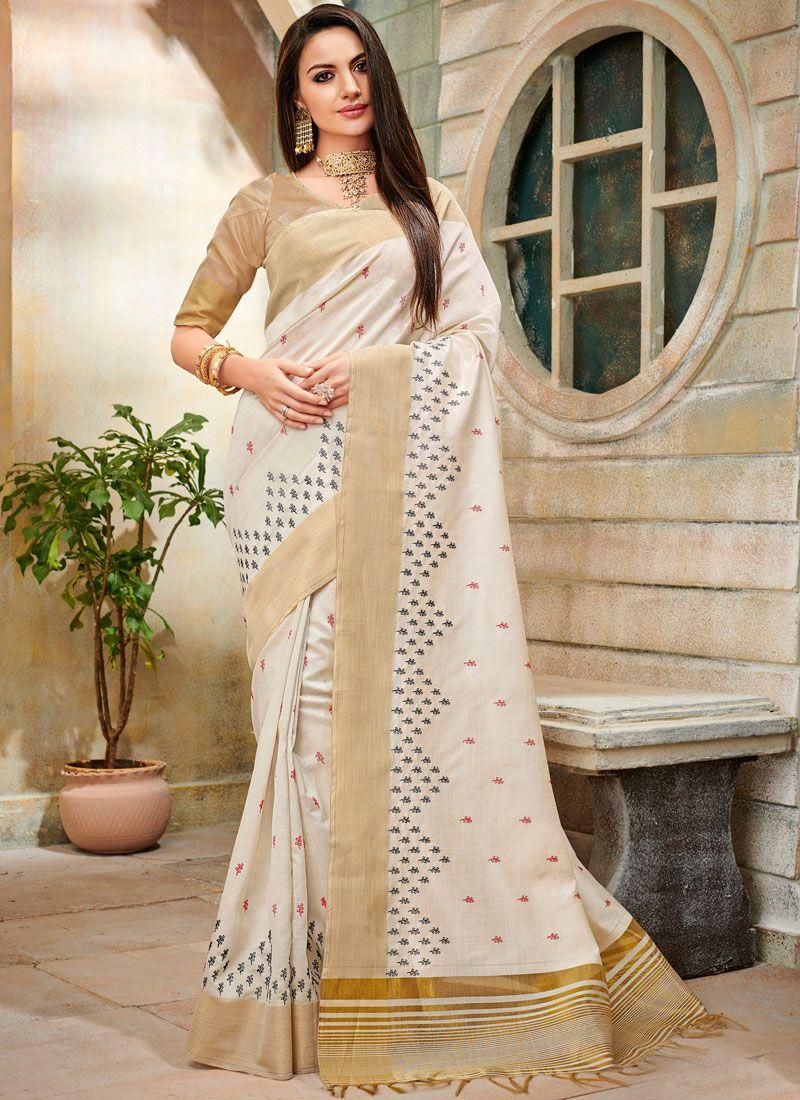Off White Embroidered Cotton Silk Trendy Saree