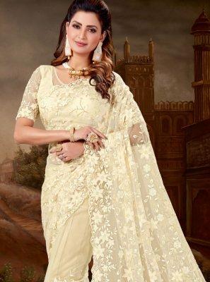 Off White Embroidered Designer Saree