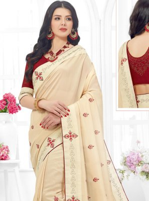 Off White Embroidered Fancy Fabric Contemporary Saree