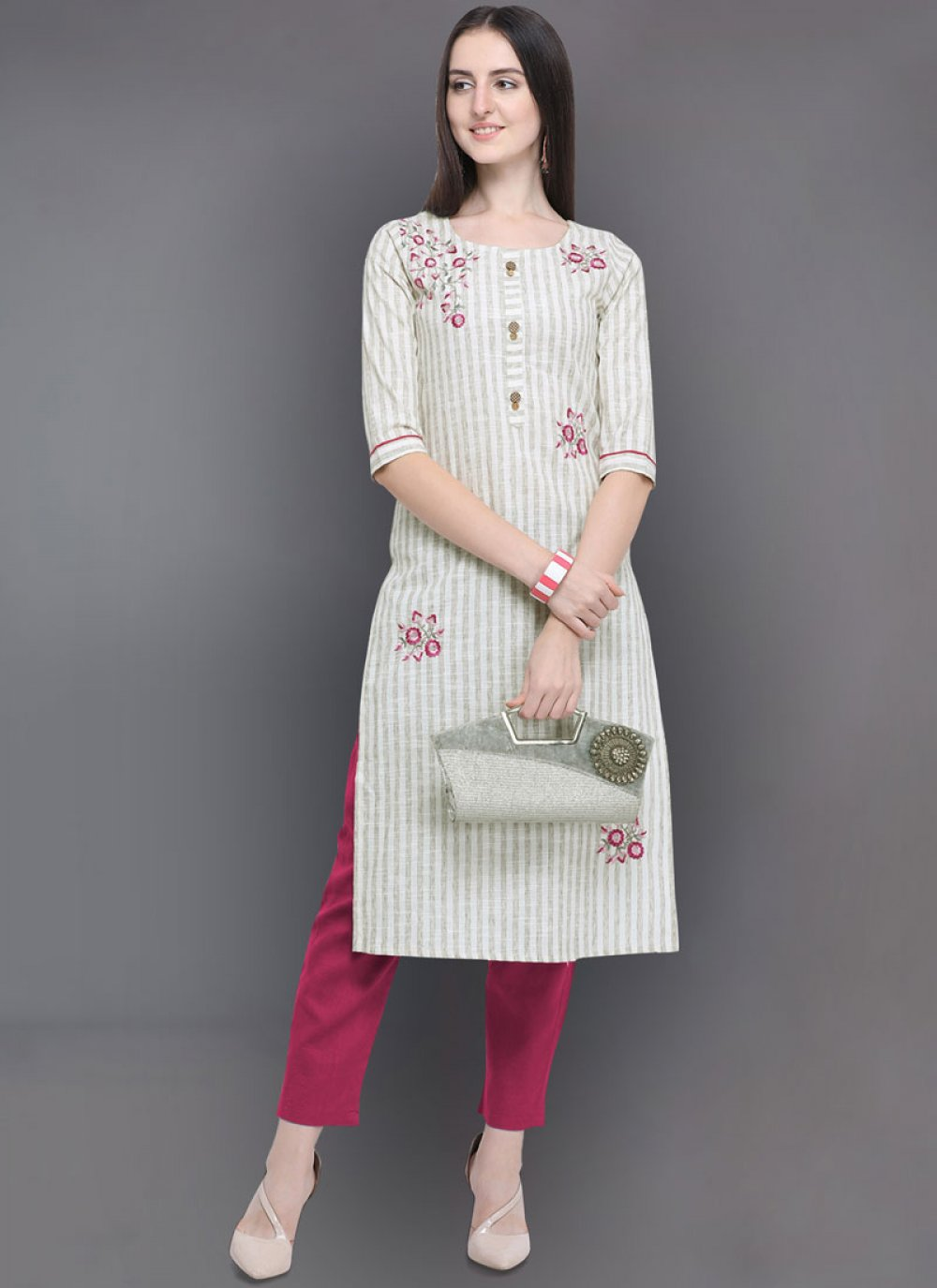 Off White Embroidered Festival Party Wear Kurti