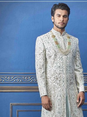 Off White Embroidered Festival Sherwani