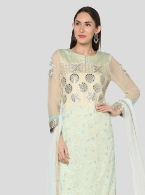 Off White Embroidered Georgette Churidar Designer Suit