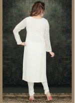 Off White Embroidered Georgette Trendy Pakistani Salwar Kameez