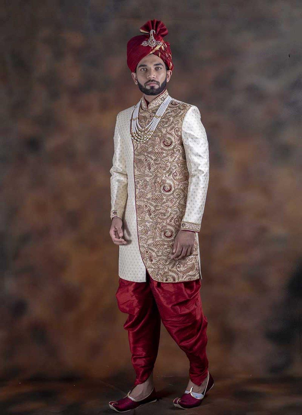 Off White Embroidered Indo Western Sherwani