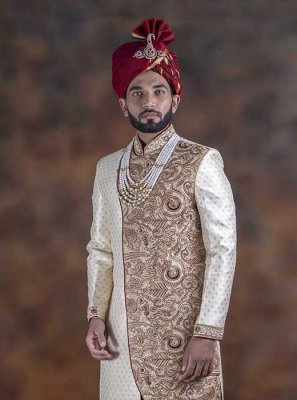 Off White Embroidered Indo Western Sherwani