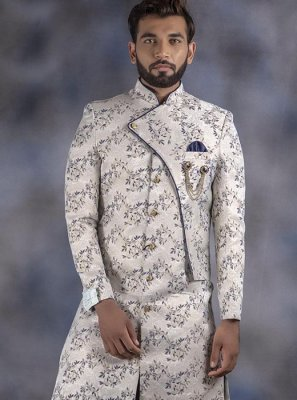 Off White Embroidered Reception Indo Western