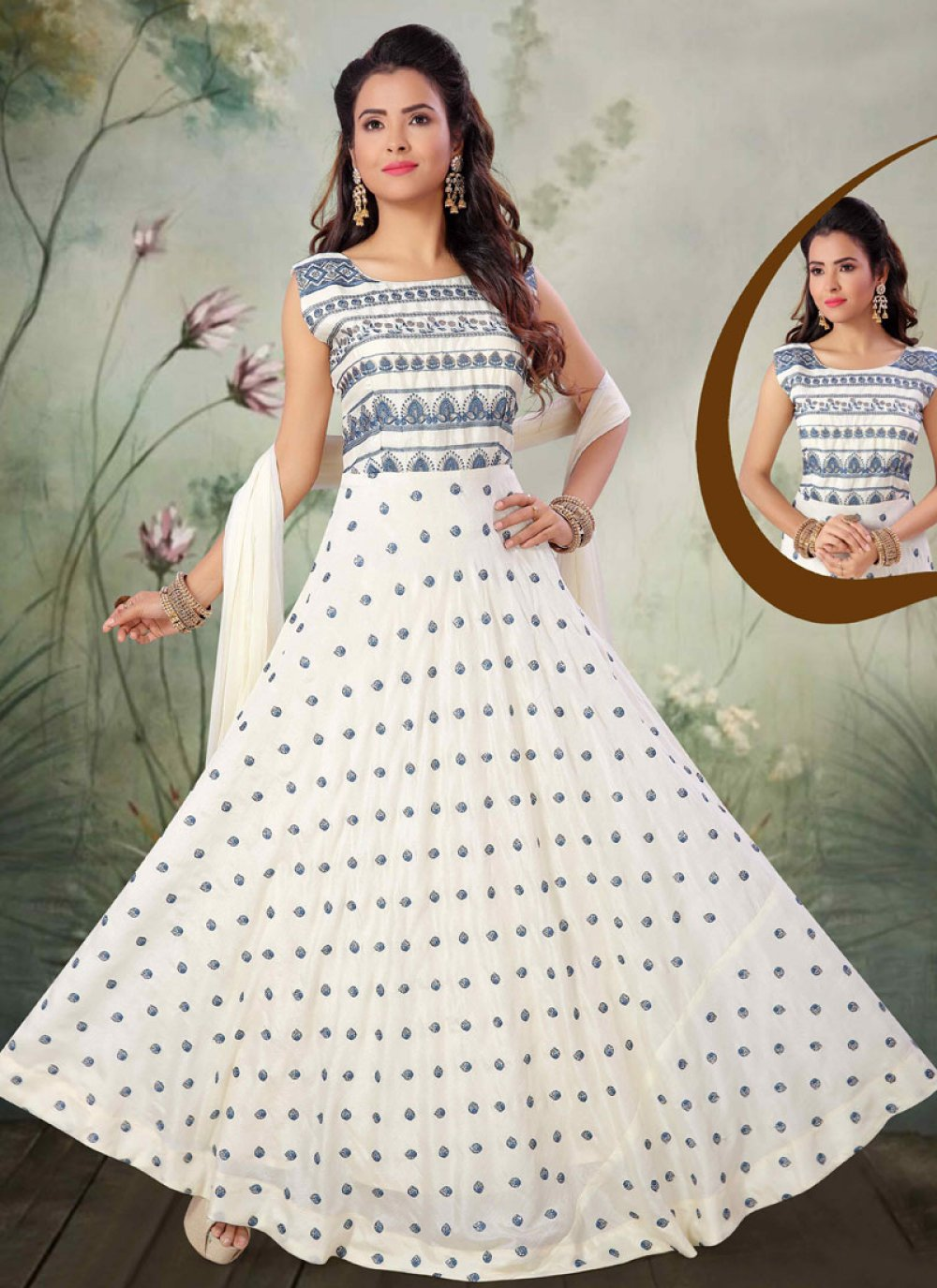 Off White Embroidered Reception Salwar Kameez