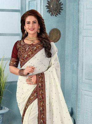 Off White Embroidered Silk Classic Designer Saree