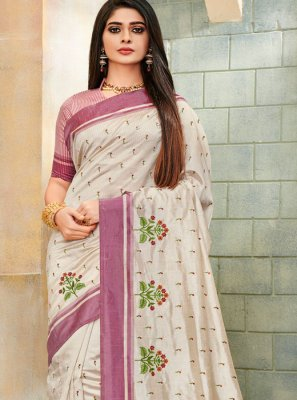 Off White Embroidered Trendy Saree