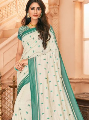 Off White Embroidered Tussar Silk Designer Saree