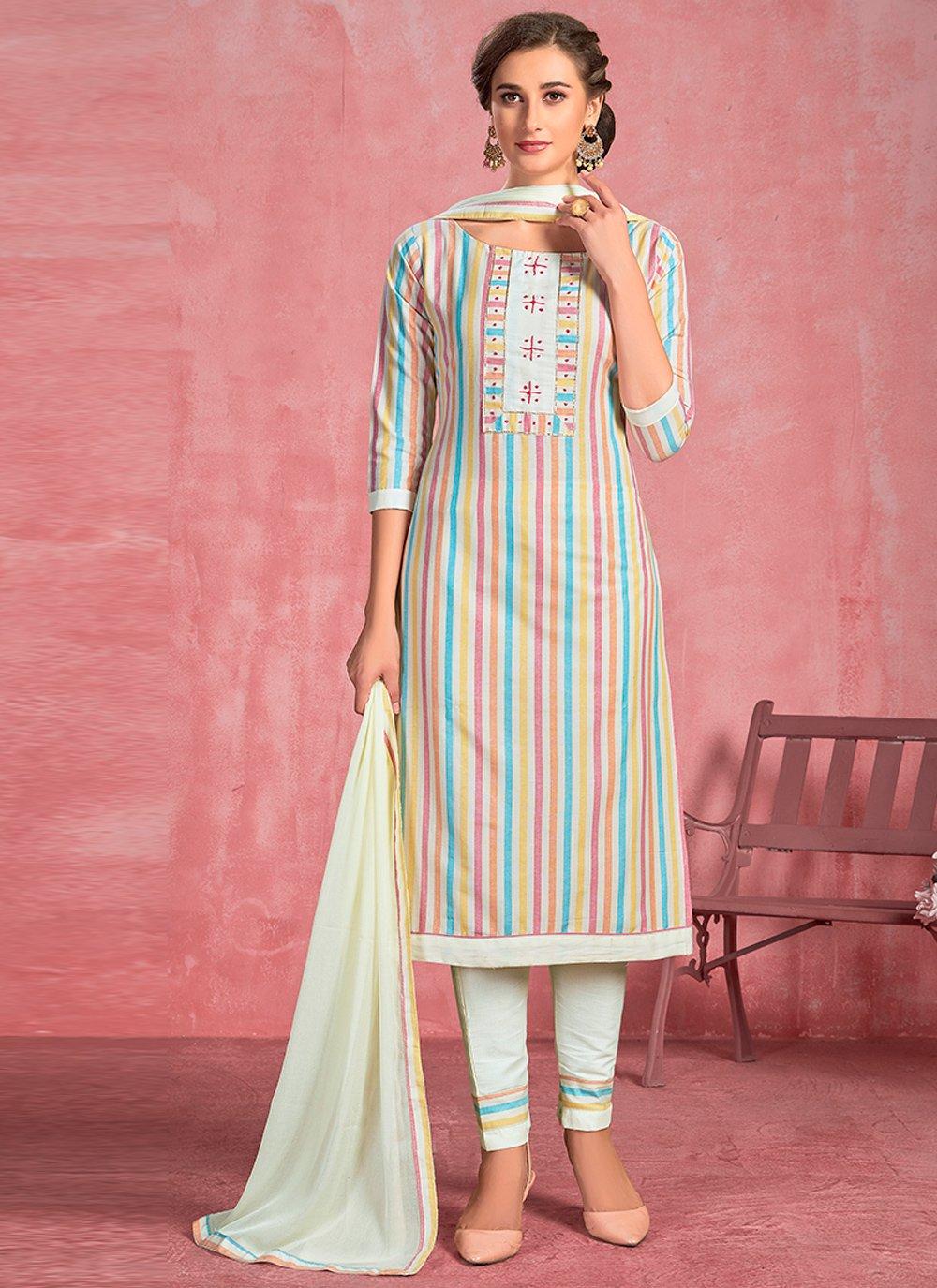 Off White Engagement Salwar Suit