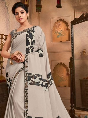 Off White Faux Chiffon Printed Saree