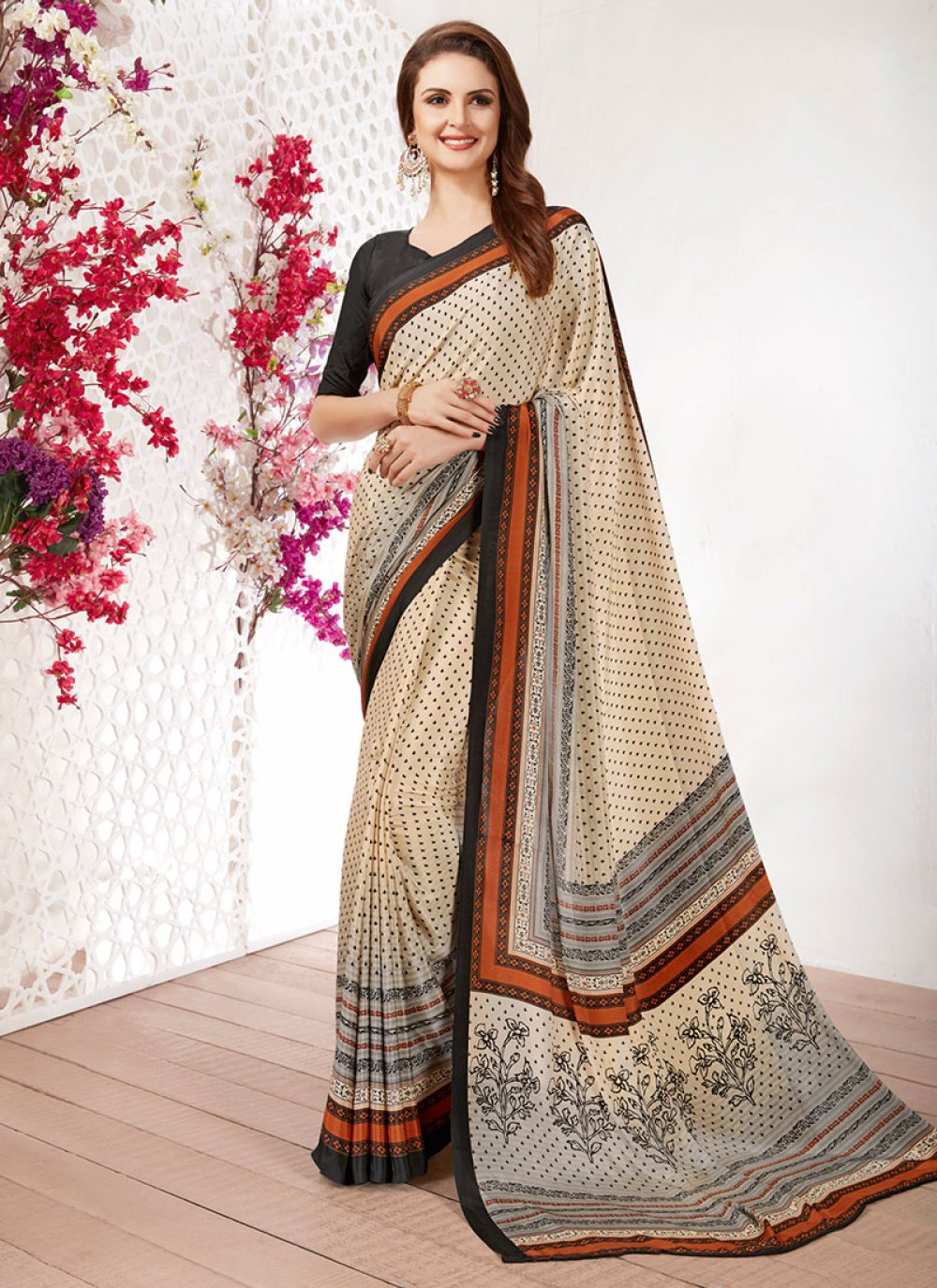 Off White Faux Crepe Casual Saree
