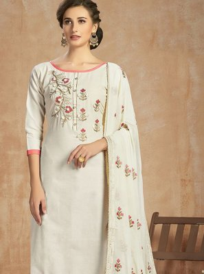 Off White Festival Cotton Salwar Kameez