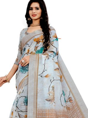 Off White Floral Print Printed Saree