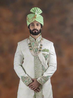 Off White Jacquard Embroidered Indo Western Sherwani