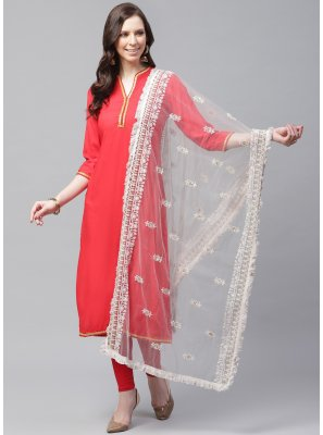 Off White Mehndi Net Designer Dupatta