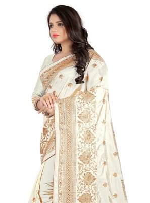 Off White Mehndi Silk Saree
