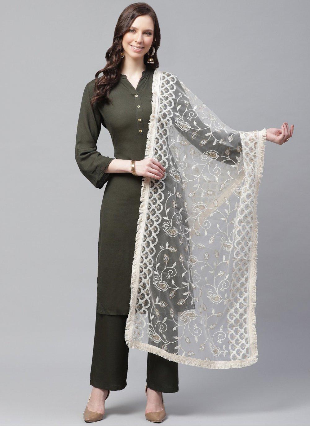 Off White Net Designer Dupatta