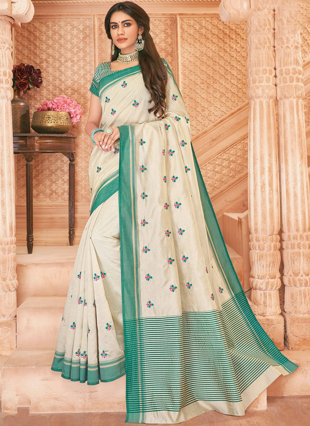Off White Party Bollywood Saree