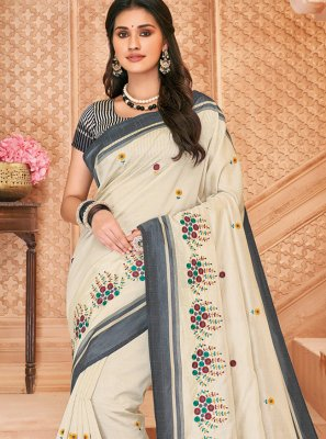 Off White Party Contemporary Saree