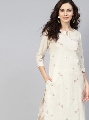 Off White Party Cotton Designer Kurti
