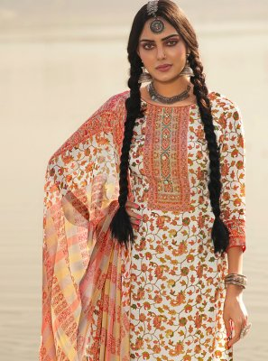 Off White Pashmina Printed Salwar Suit