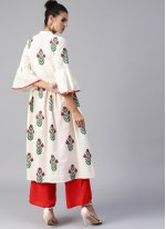 Off White Print Cotton Designer Kurti
