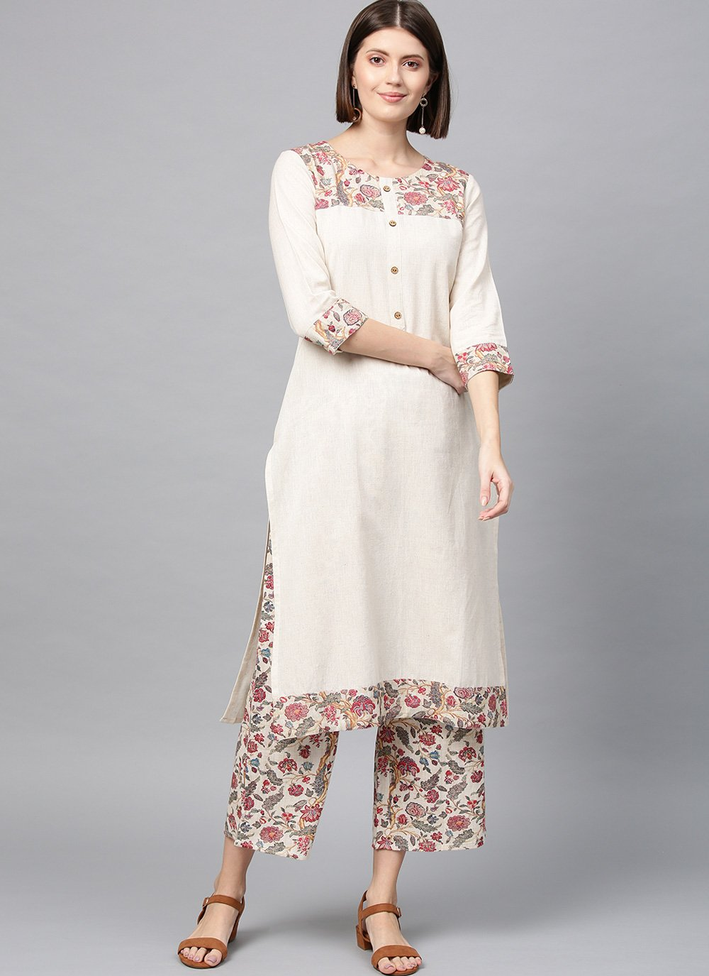 Off White Printed Fancy Fabric Casual Kurti