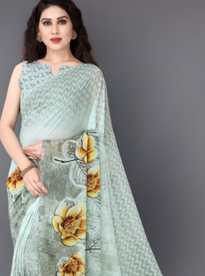 Off White Printed Faux Georgette Casual Saree