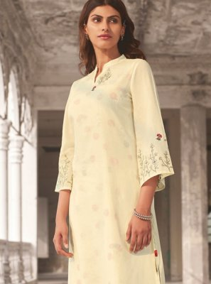 Off White Printed Linen Casual Kurti