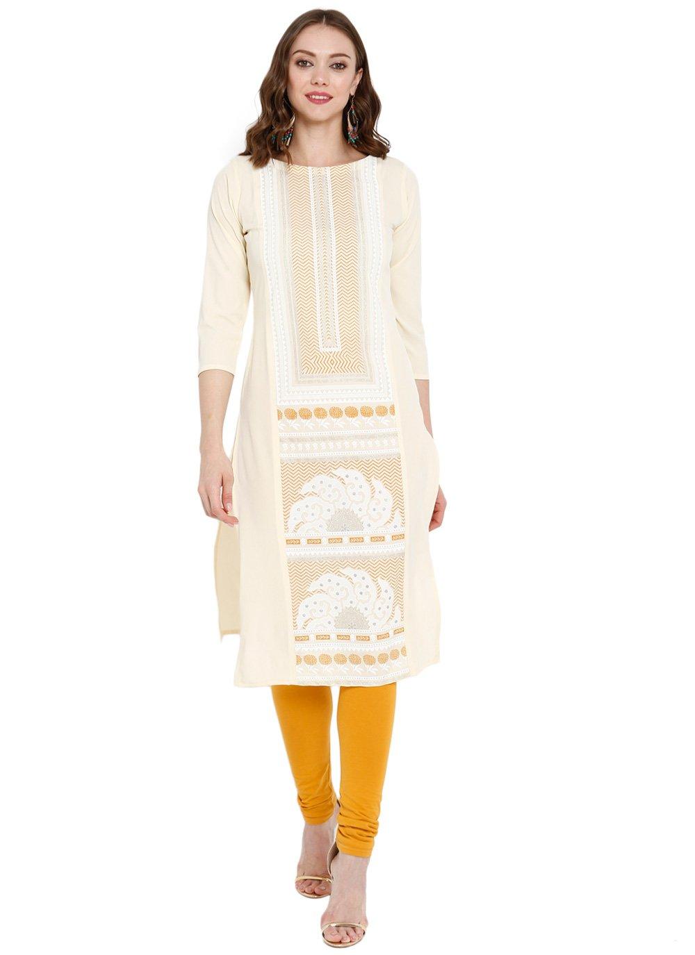 Off White Printed Mehndi Party Wear Kurti