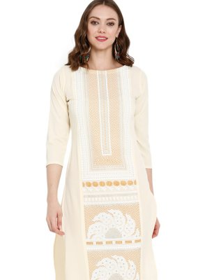 Off White Printed Mehndi Party Wear Kurti