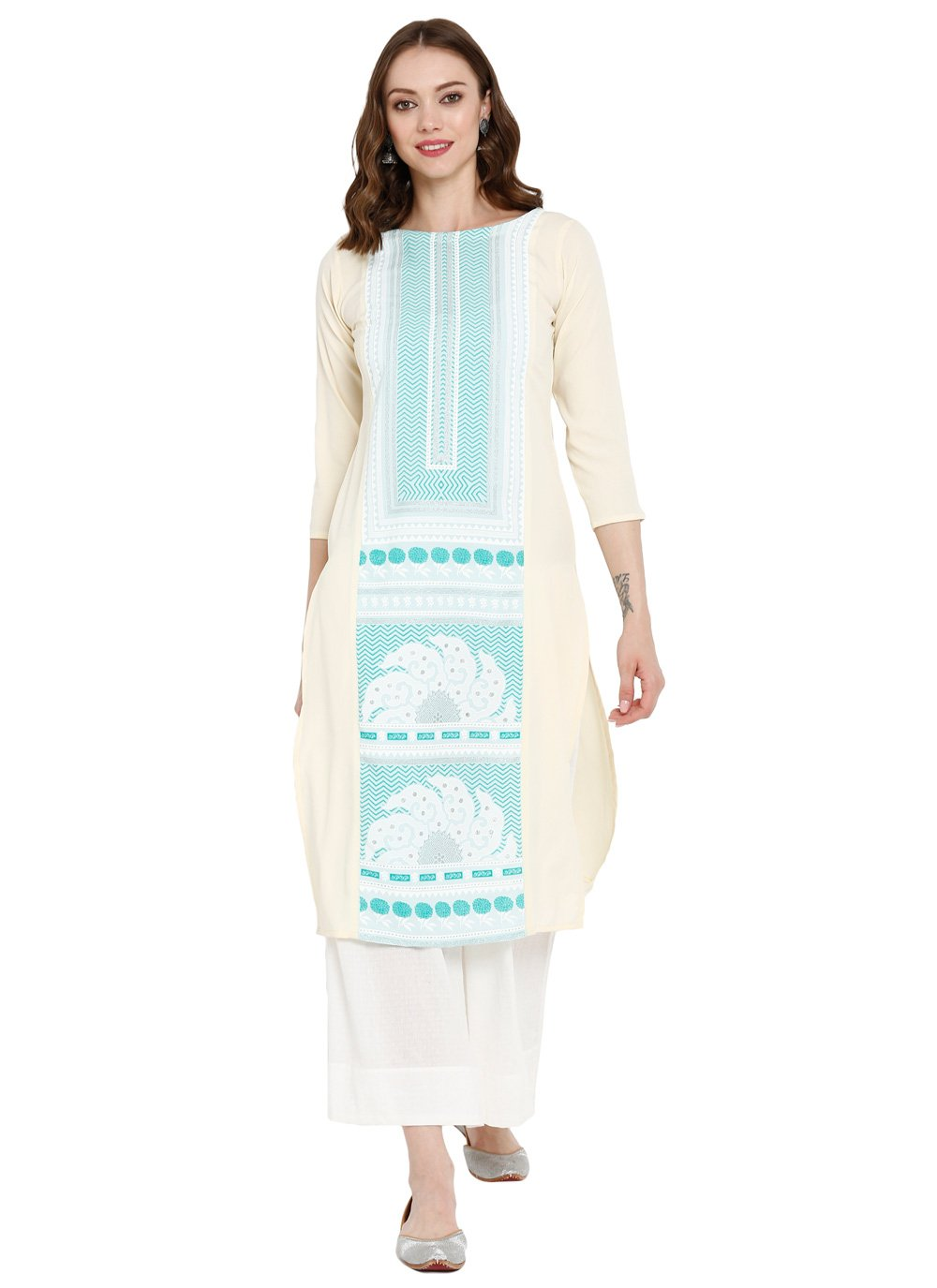 Off White Printed Pure Crepe Party Wear Kurti