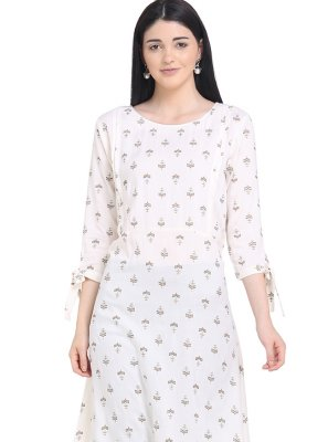 Off White Rayon Casual Kurti