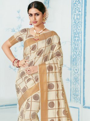 Off White Reception Silk Classic Saree