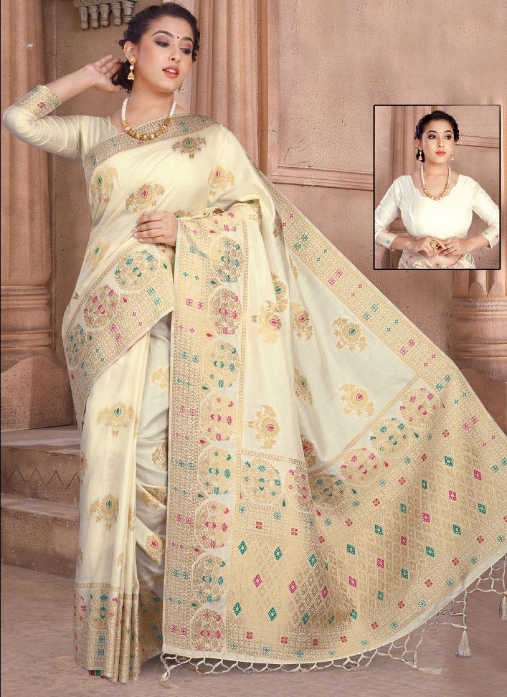 Off White Reception Silk Designer Saree