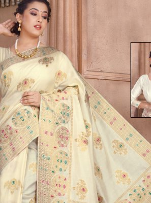 Off White Reception Silk Designer Saree