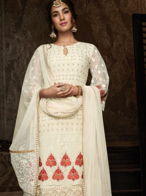 Off White Resham Georgette Lehenga Choli
