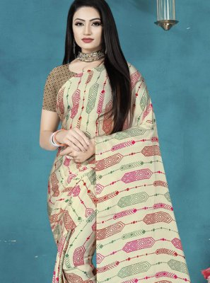 Off White Satin Silk Digital Print Printed Saree