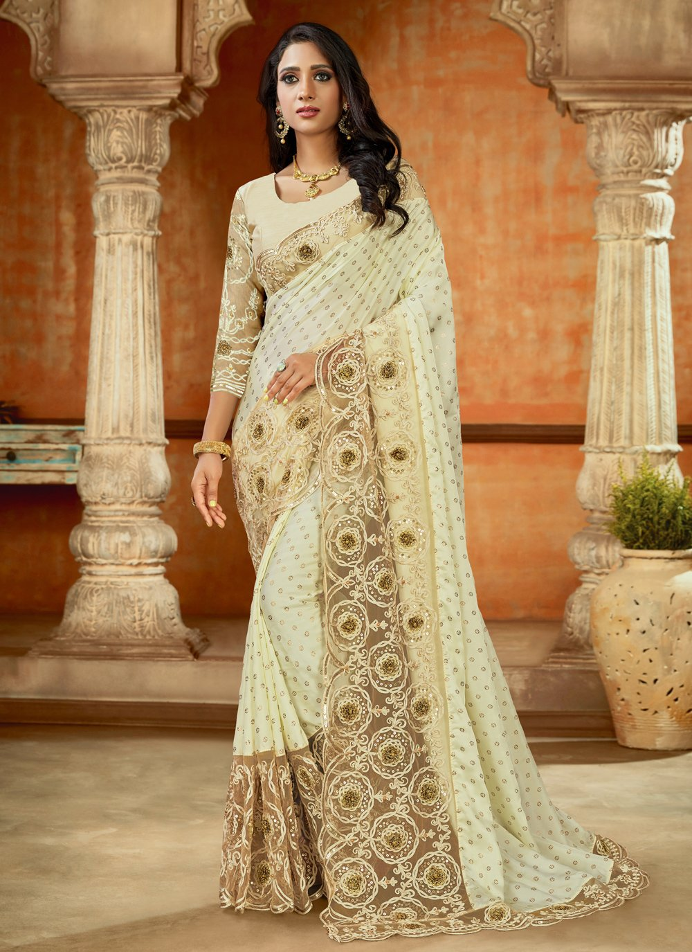 Off White Satin Trendy Saree