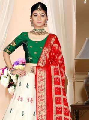 Off White Silk A Line Lehenga Choli