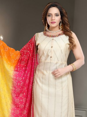 Off White Silk Festival Readymade Churidar Salwar Kameez