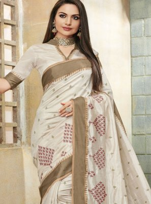 Off White Trendy Saree