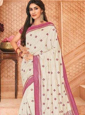 Off White Tussar Silk Classic Saree