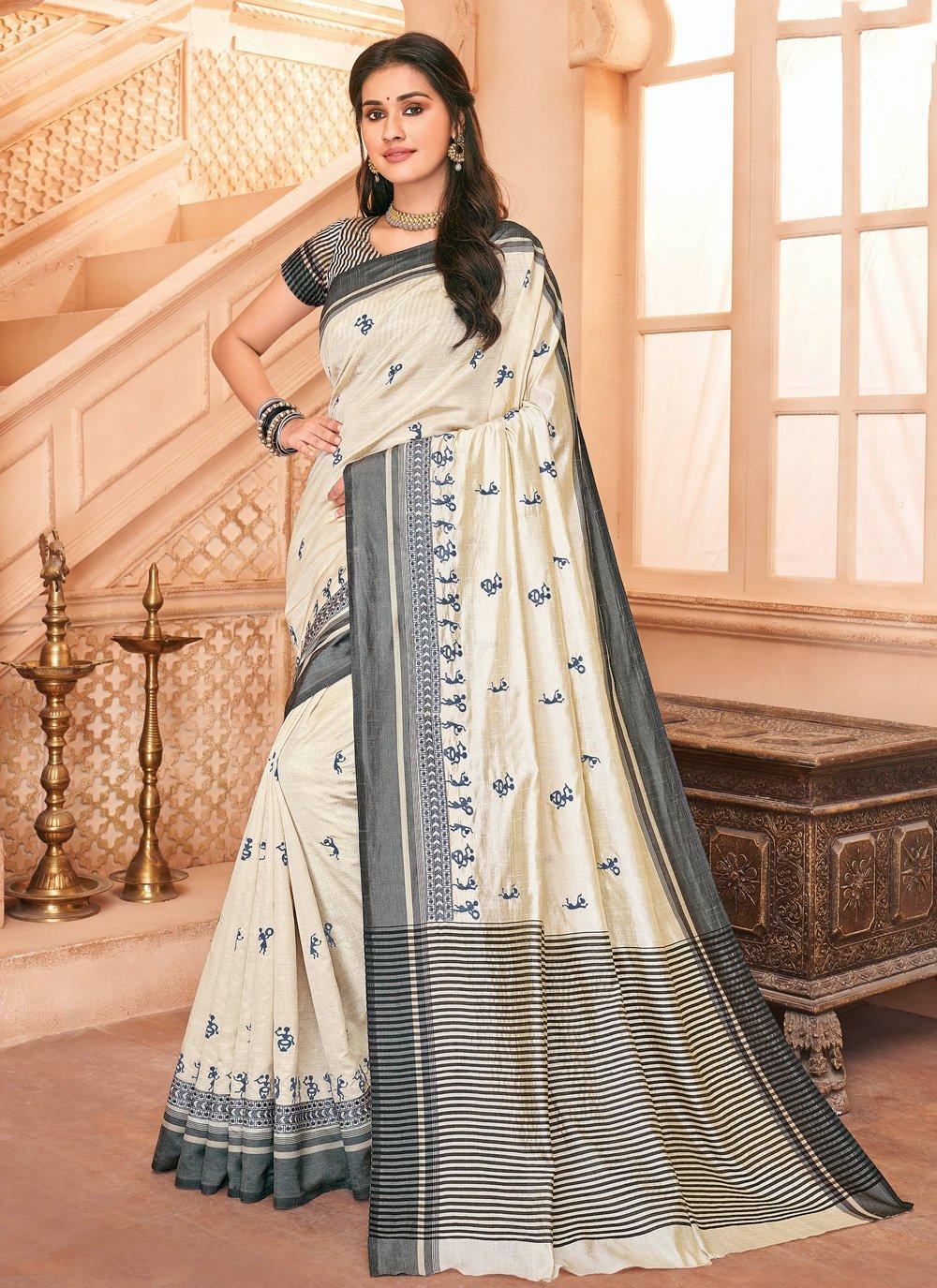 Off White Tussar Silk Trendy Saree