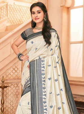 Off White Tussar Silk Trendy Saree