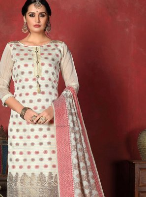 Off White Weaving Banarasi Silk Designer Suit